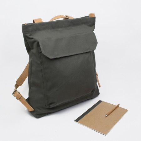 BACKPACK ZIP PACK  / GREY & NATURAL