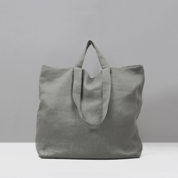 TOTE LINEN L / LIGHT GREY