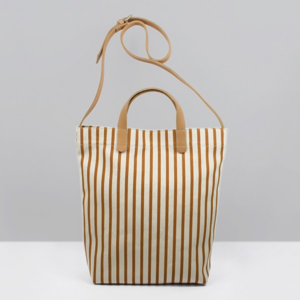 ALL DAY TOTE /  BURNT ORANGE STRIPES & NATURAL