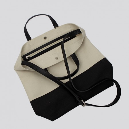 ALL DAY TOTE / ÉCRU & BLACK