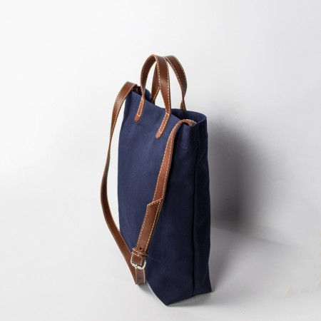 ALL DAY TOTE / NAVY & CHESTNUT