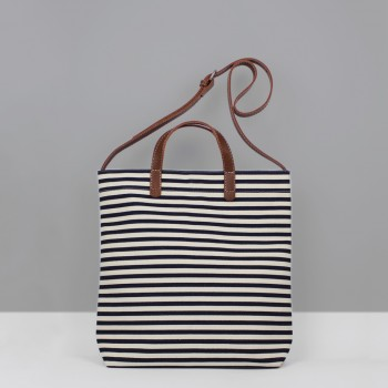 ALL DAY TOTE / NAVY STRIPES  & CHESTNUT