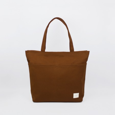 UTILITY TOTE / BURNT ORANGE & NATURAL