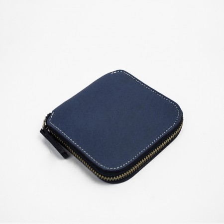 SQUARE ZIP WALLET / ROYAL BLUE & NATURAL
