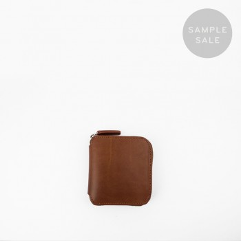 SQUARE ZIP WALLET / CHESTNUT & NATURAL / SAMPLE SALE