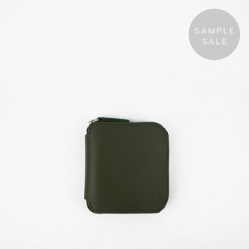 SQUARE ZIP WALLET / GREEN & NATURAL / SAMPLE SALE